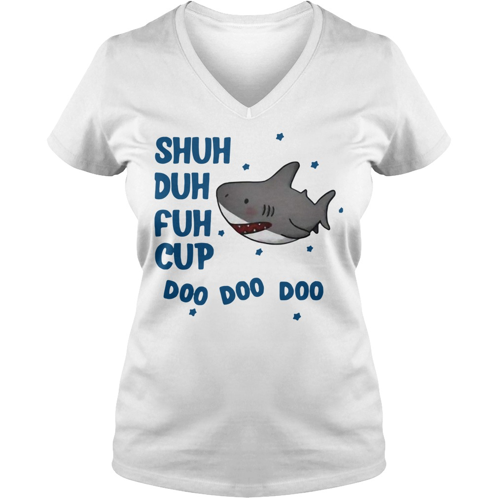 Shark shuh duh fuh cup doo doo doo V-neck T-shirt