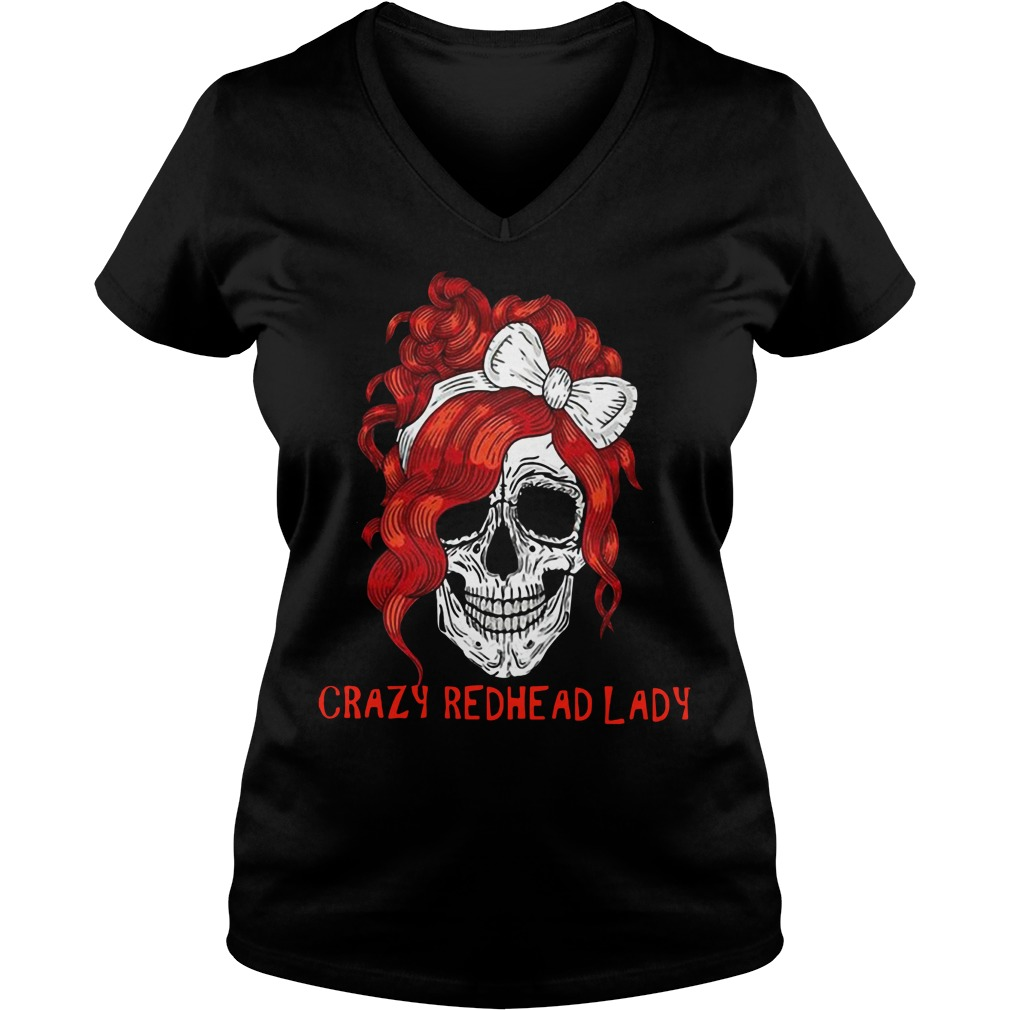 Skull crazy redhead lady V-neck T-shirt