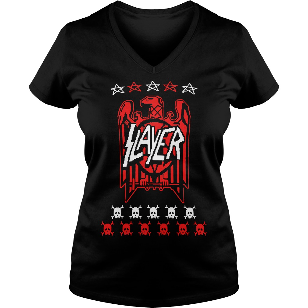 Slayer eagle skull V-neck T-shirt