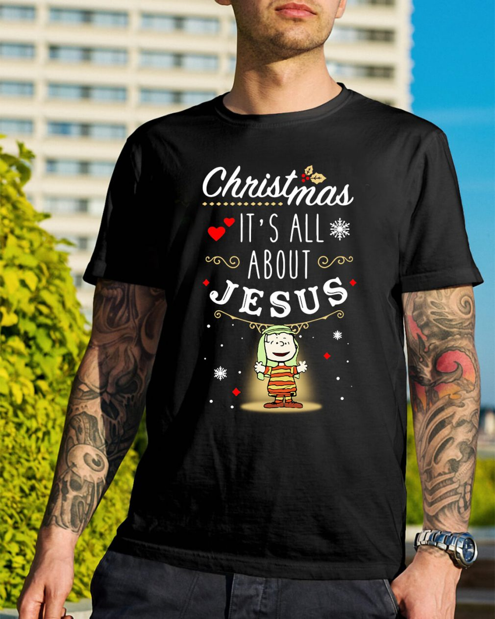 Snoopy Christmas it's all about Jesus Guys Shirt