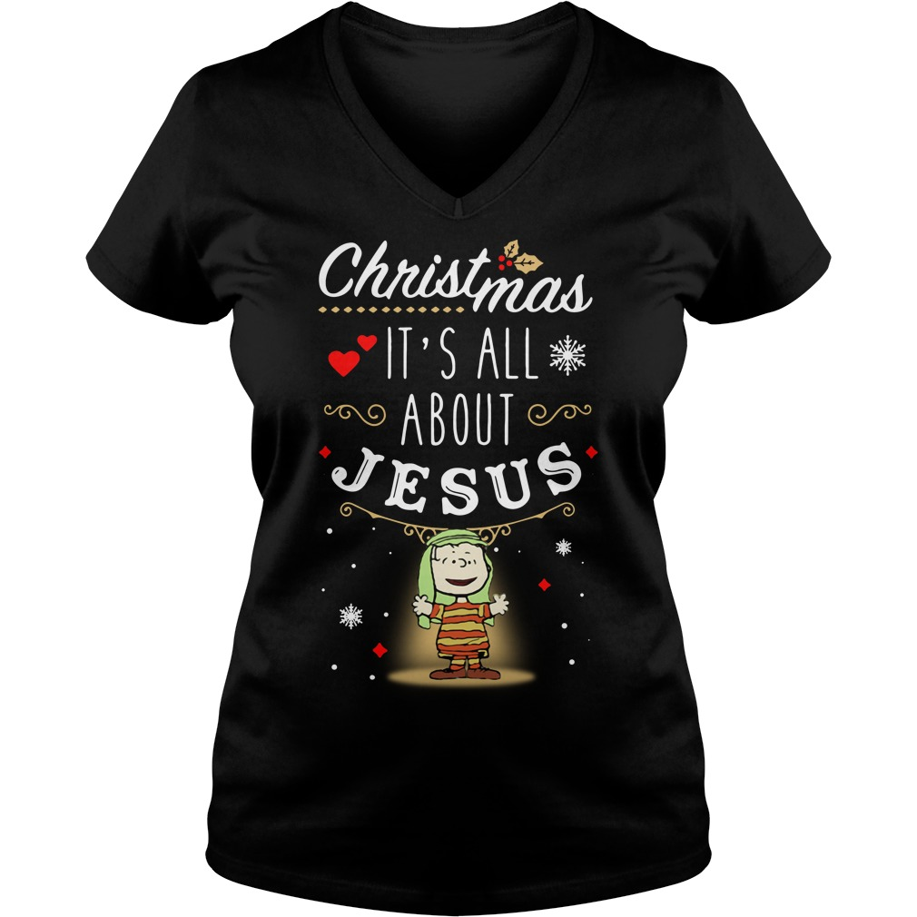 Snoopy Christmas it's all about Jesus V-neck T-shirt