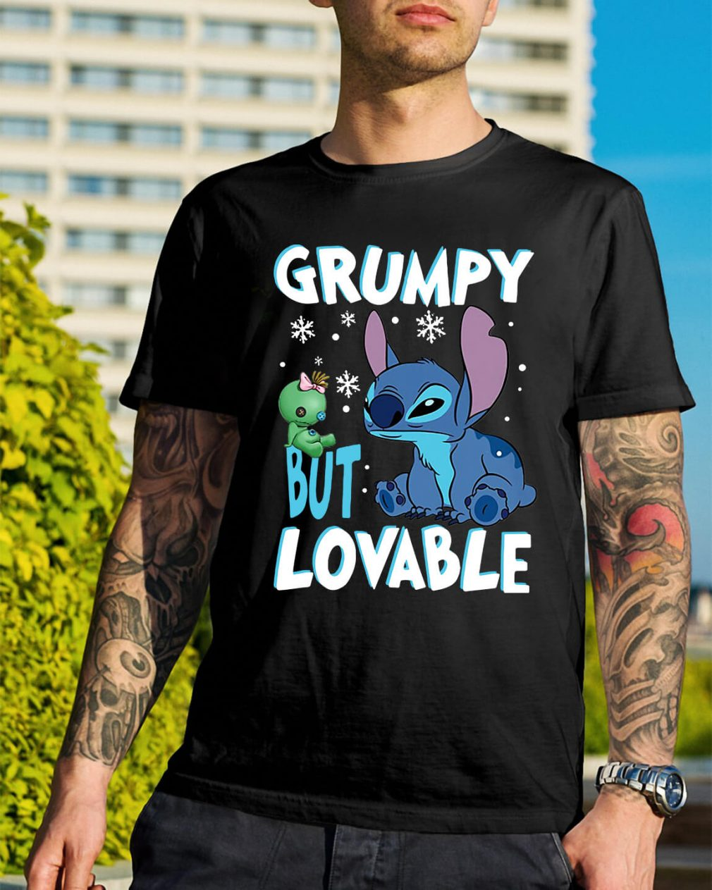 Stitch grumpy but lovable Christmas Guys Shirt