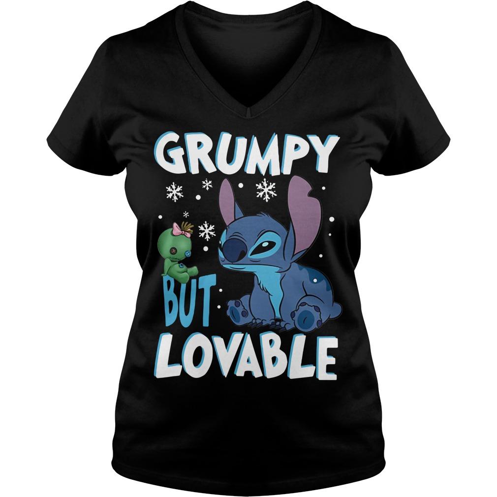 Stitch grumpy but lovable Christmas V-neck T-shirt