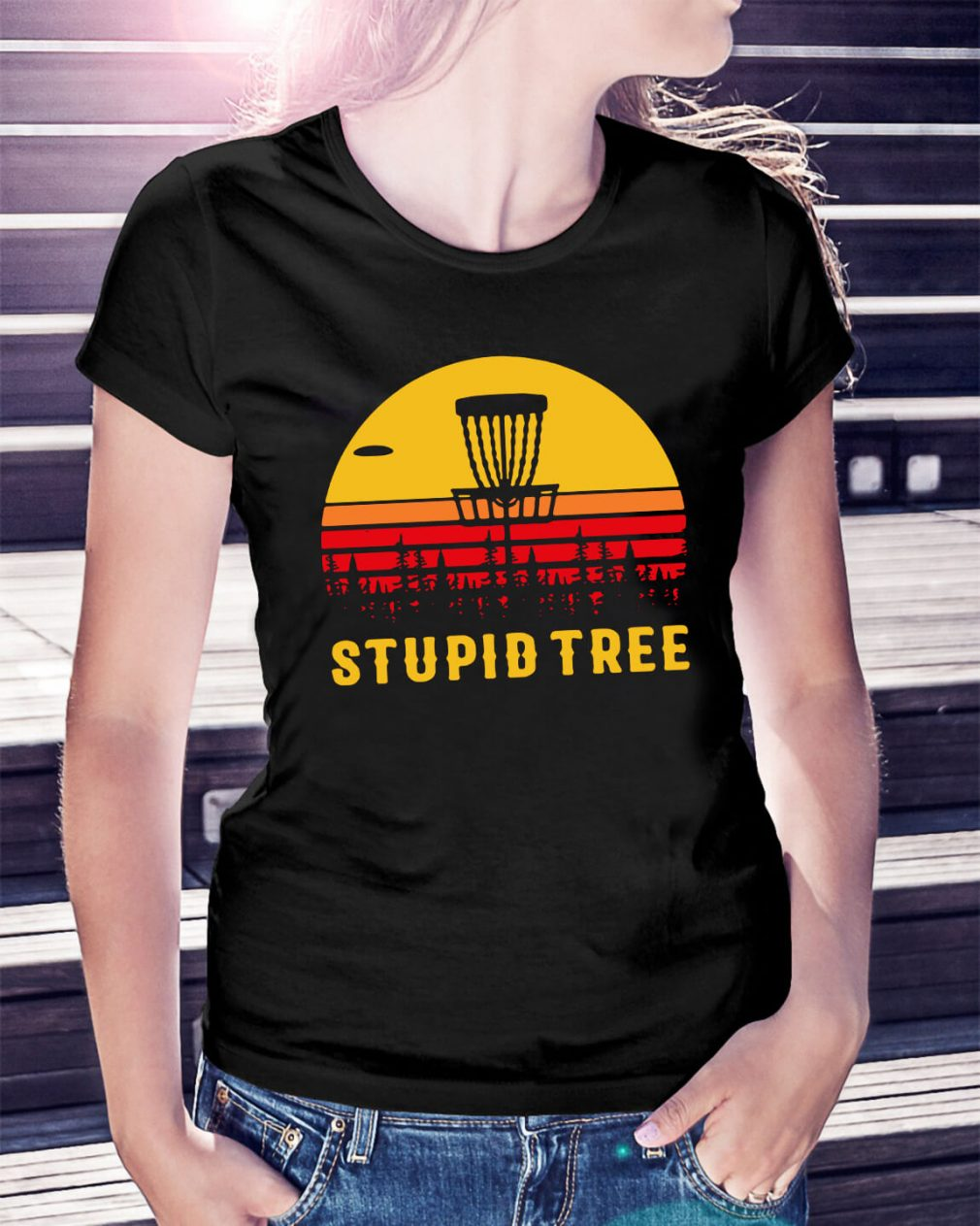 Stupid tree sunset Ladies Tee