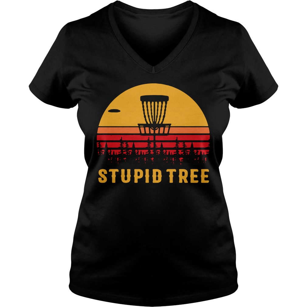 Stupid tree sunset V-neck T-shirt