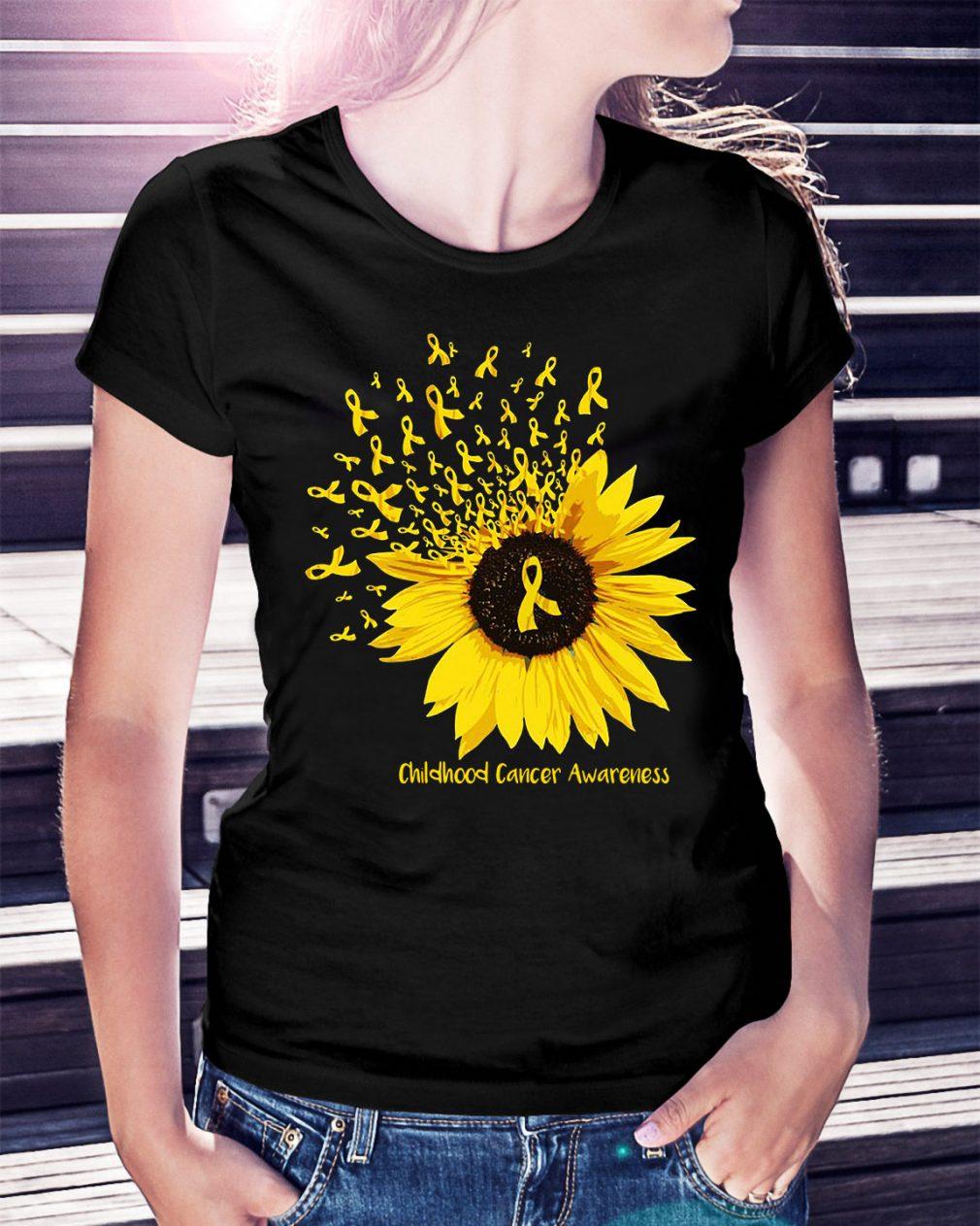 Sunflower childhood cancer awareness Ladies Tee