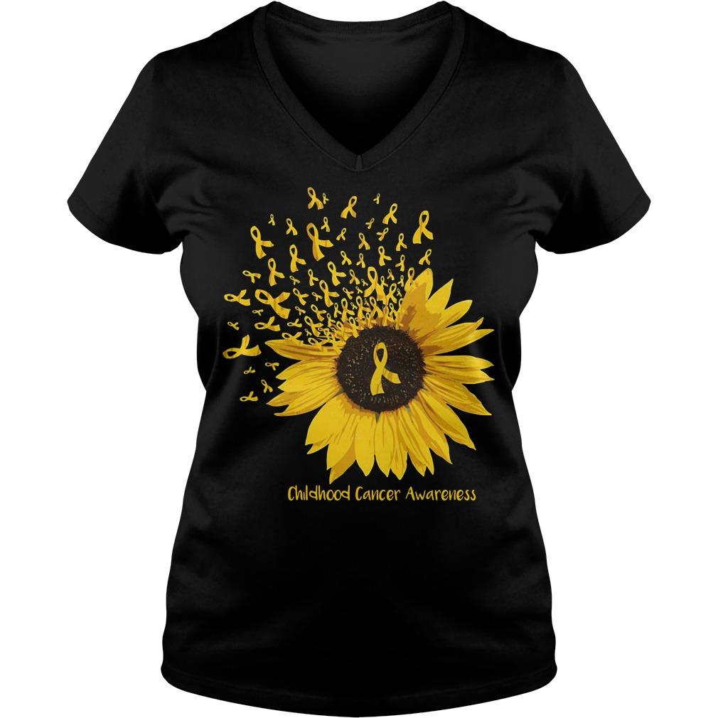 Sunflower childhood cancer awareness V-neck T-shirt