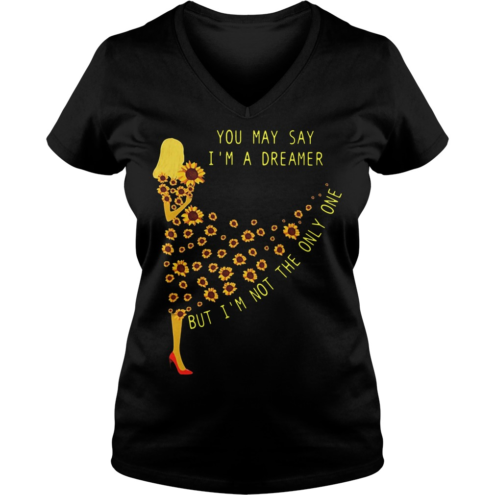 Sunflower girl you may say I'm a dreamer but I'm not the only one V-neck T-shirt