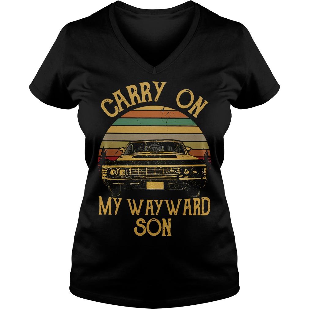 Sunset carry on my wayward son V-neck T-shirt