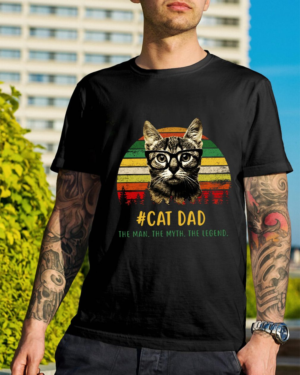 Sunset cat dad the man the myth the legend shirt