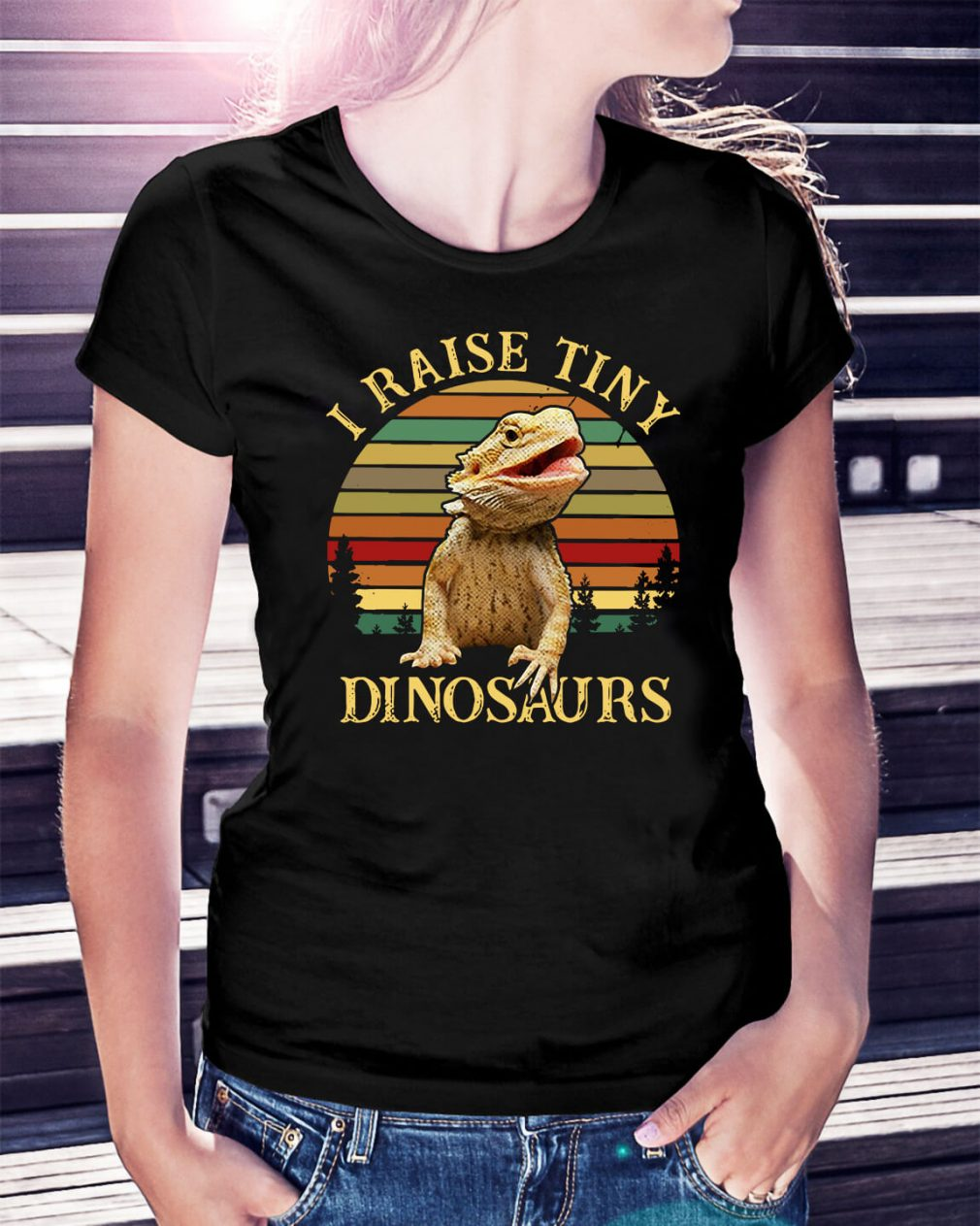 Sunset I raise tiny dinosaurs Ladies Tee