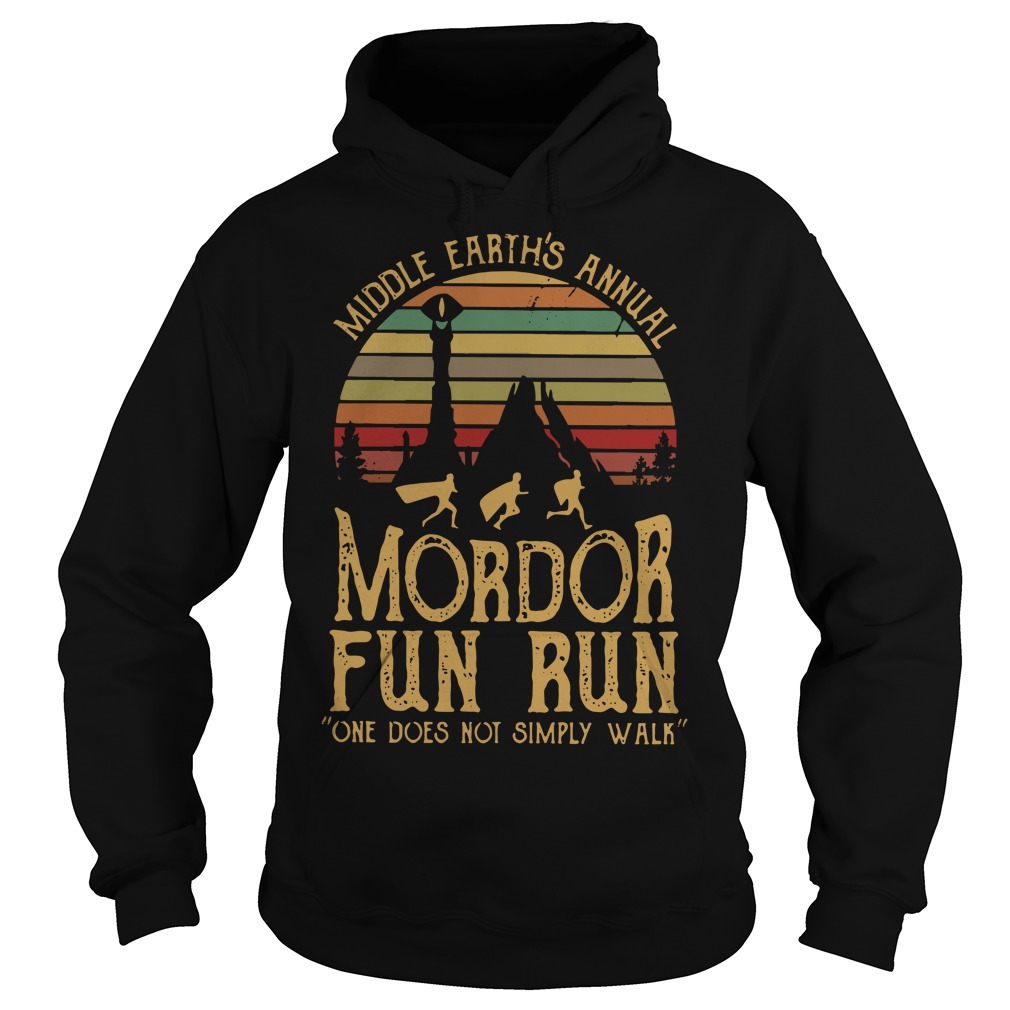 Sunset Middle Earth's annual Mordor fun run one does not simply Hoodie