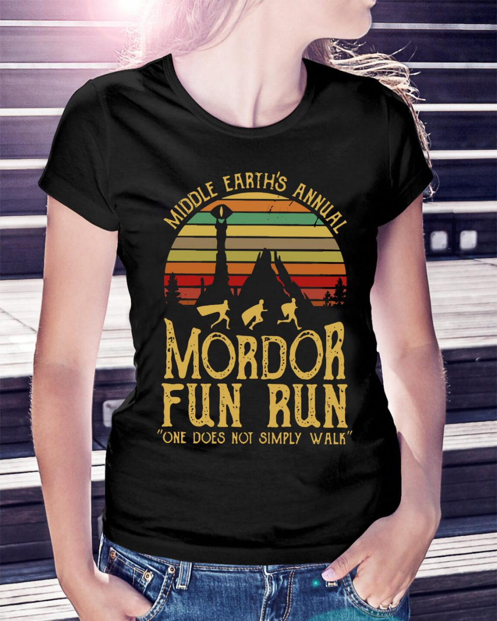 Sunset Middle Earth's annual Mordor fun run one does not simply Ladies Tee