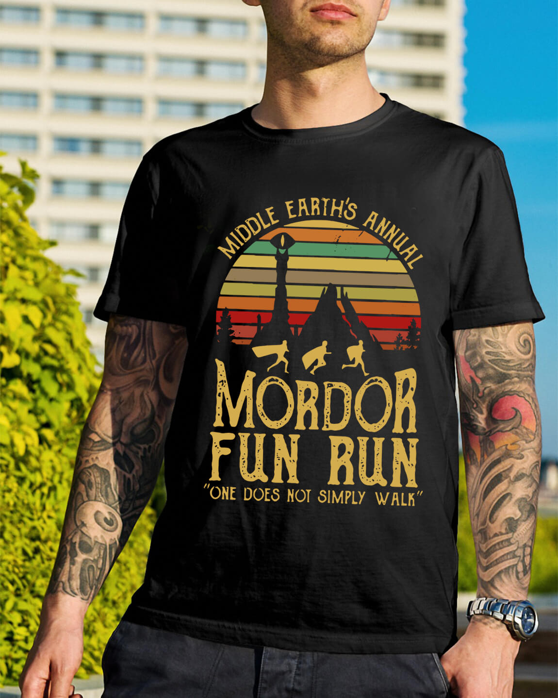 9fece8be0 Sunset Middle Earth's annual Mordor fun run one does not simply shirt