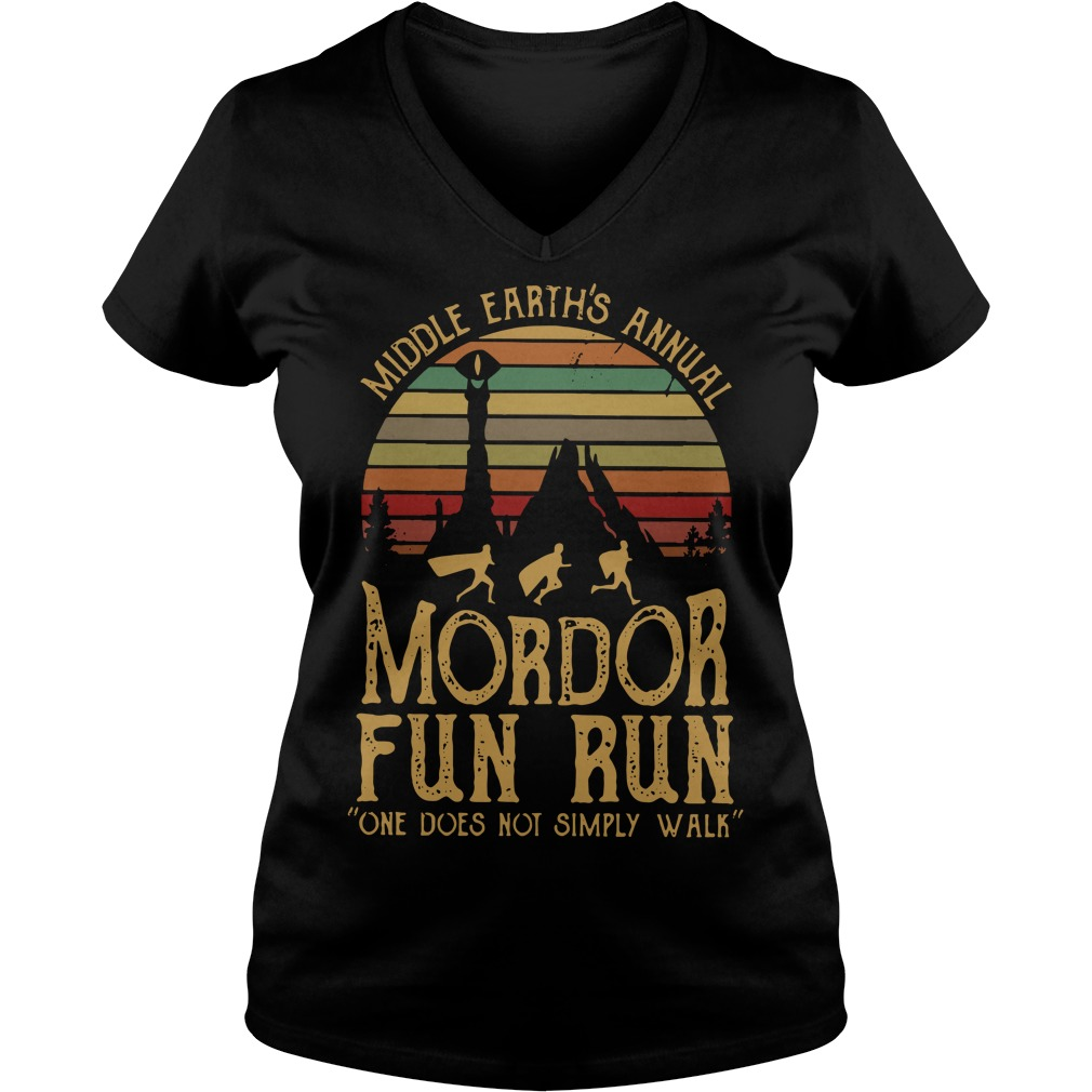 Sunset Middle Earth's annual Mordor fun run one does not simply V-neck T-shirt
