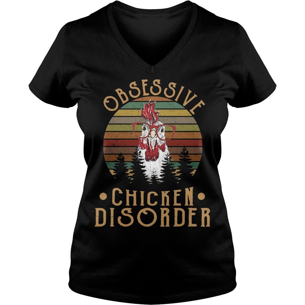 Sunset obsessive chicken disorder V-neck T-shirt