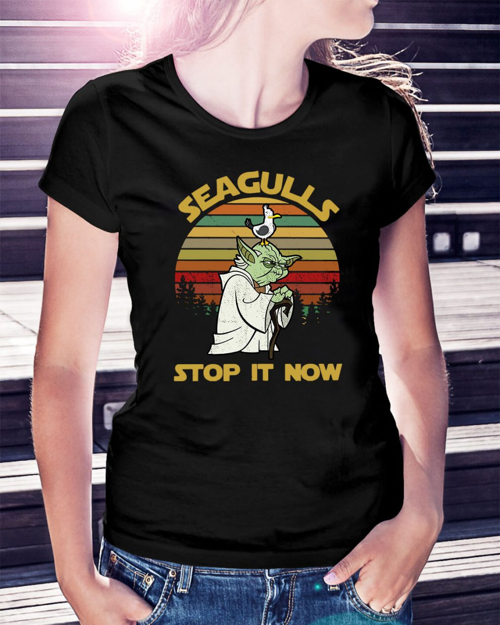 Sunset retro style Seagulls stop it now Ladies Tee