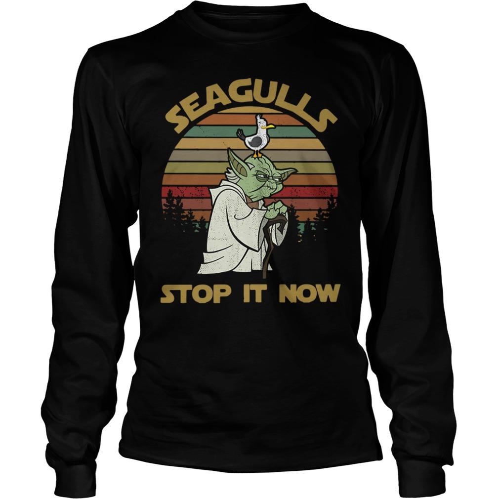 Sunset retro style Seagulls stop it now Longsleeve Tee