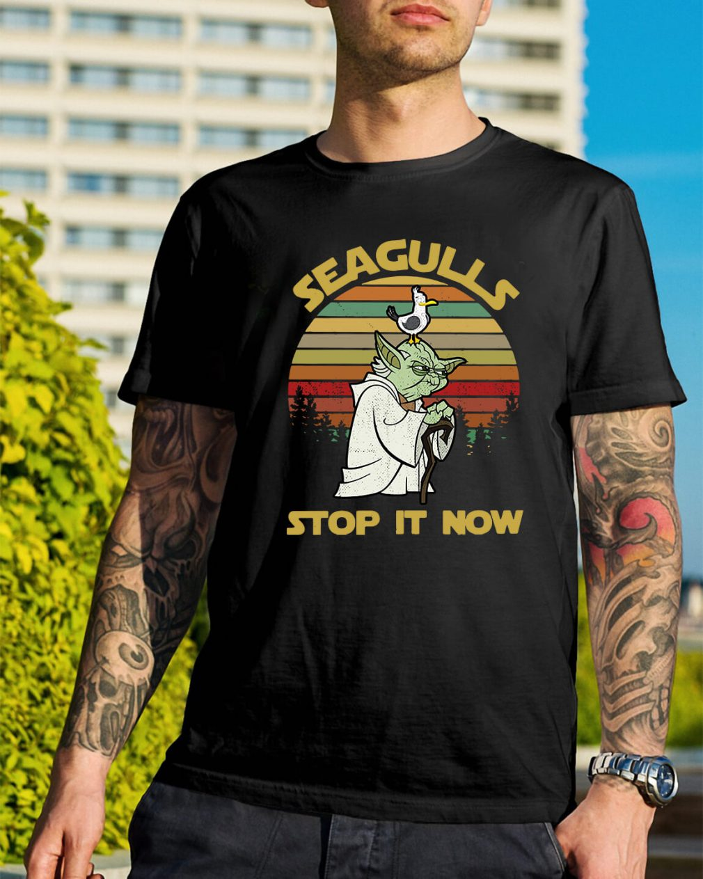 Sunset retro style Seagulls stop it now shirt