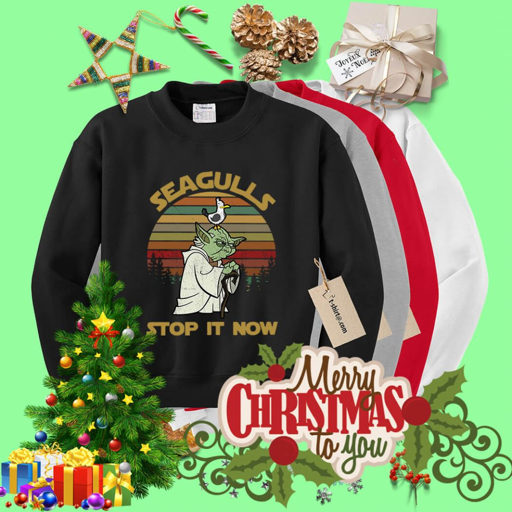 Sunset retro style Seagulls stop it now Sweater