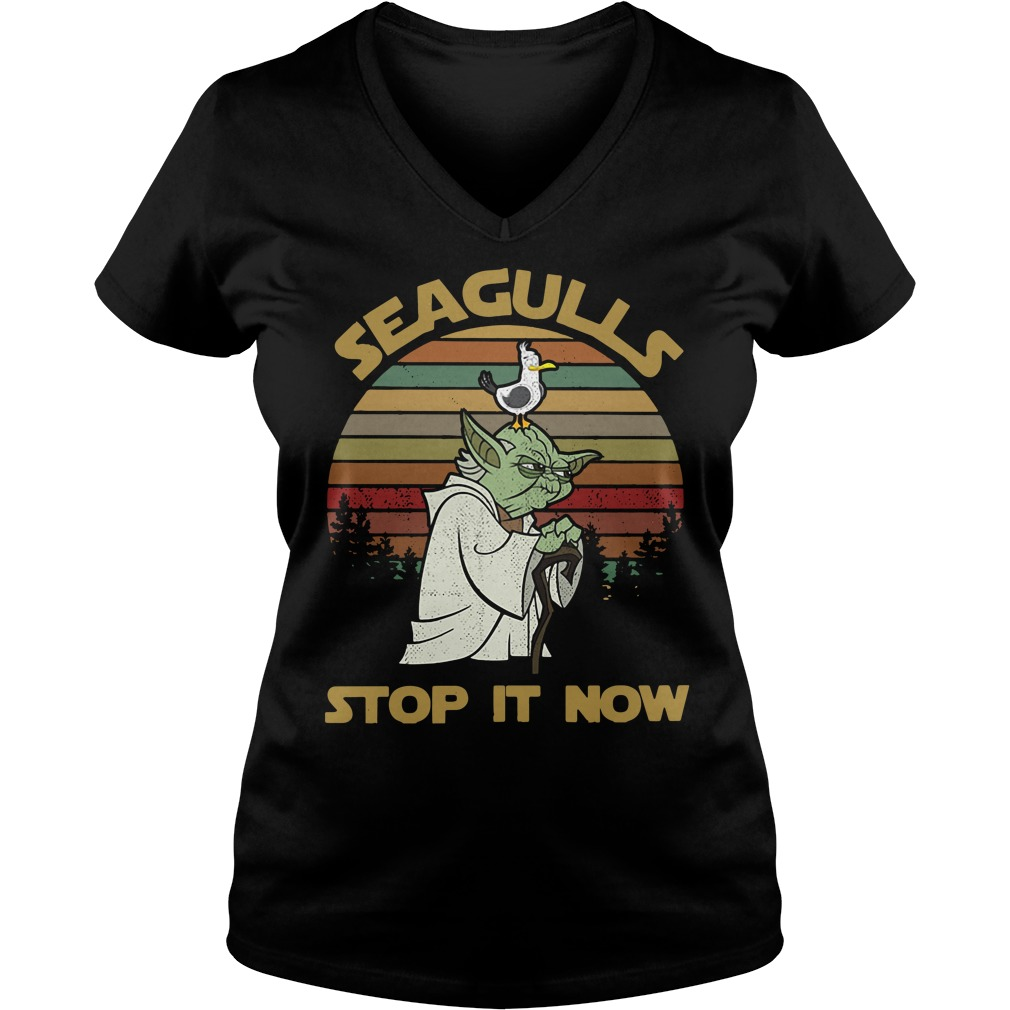 Sunset retro style Seagulls stop it now V-neck T-shirt