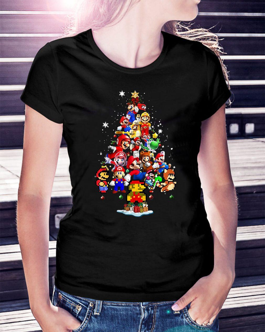 Super Mario Christmas tree Ladies Tee