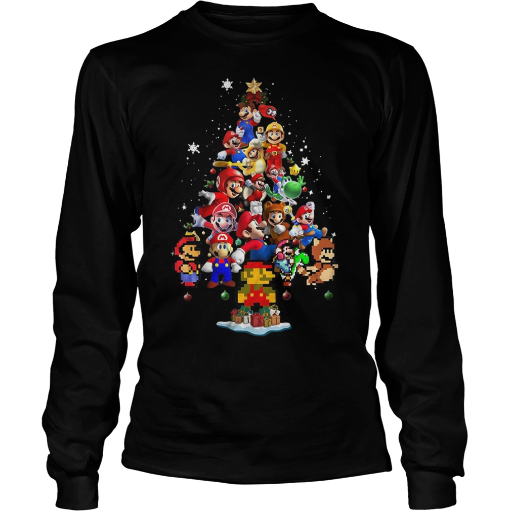 Super Mario Christmas tree Longsleeve Tee