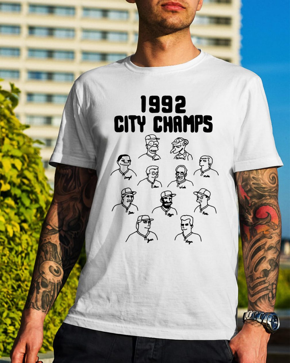 The Simpsons 1992 city champs shirt