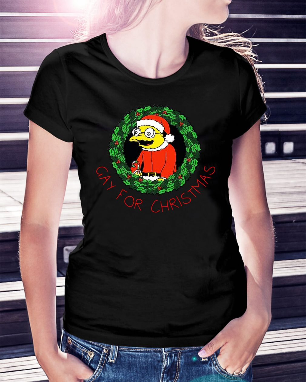 The Simpsons gay for Christmas Ladies Tee