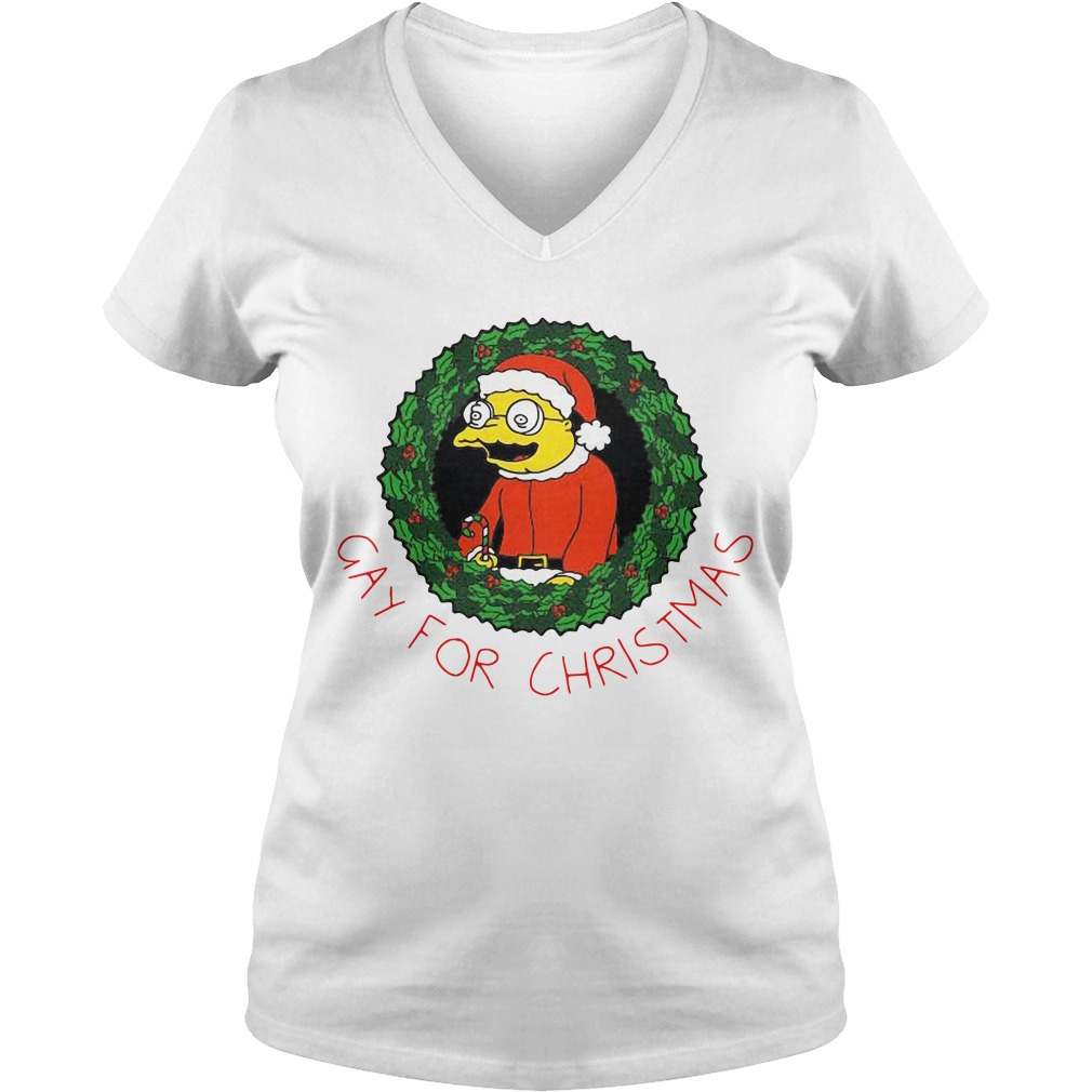 The Simpsons gay for Christmas V-neck T-shirt