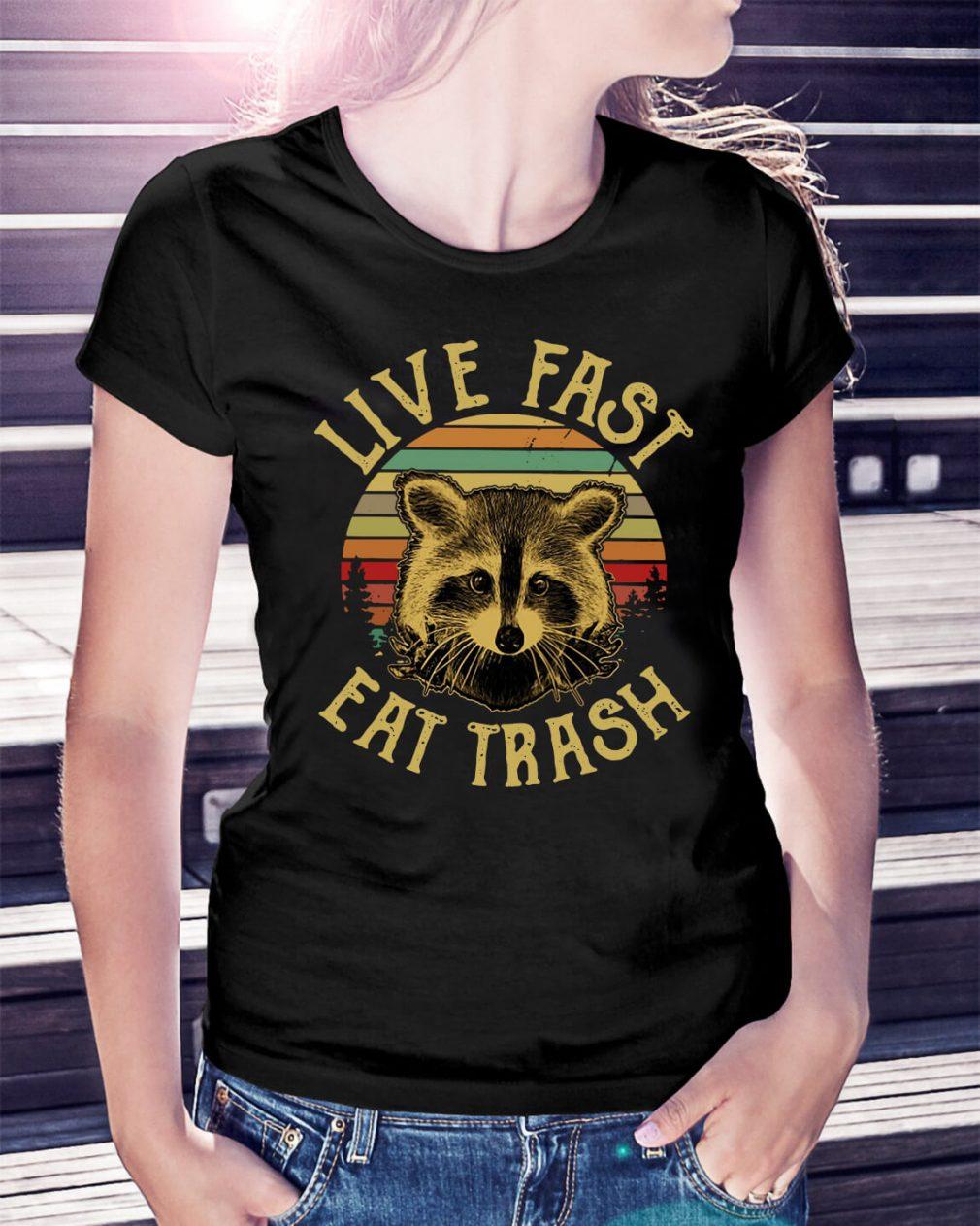 The sunset Raccoon live fast eat trash Ladies Tee