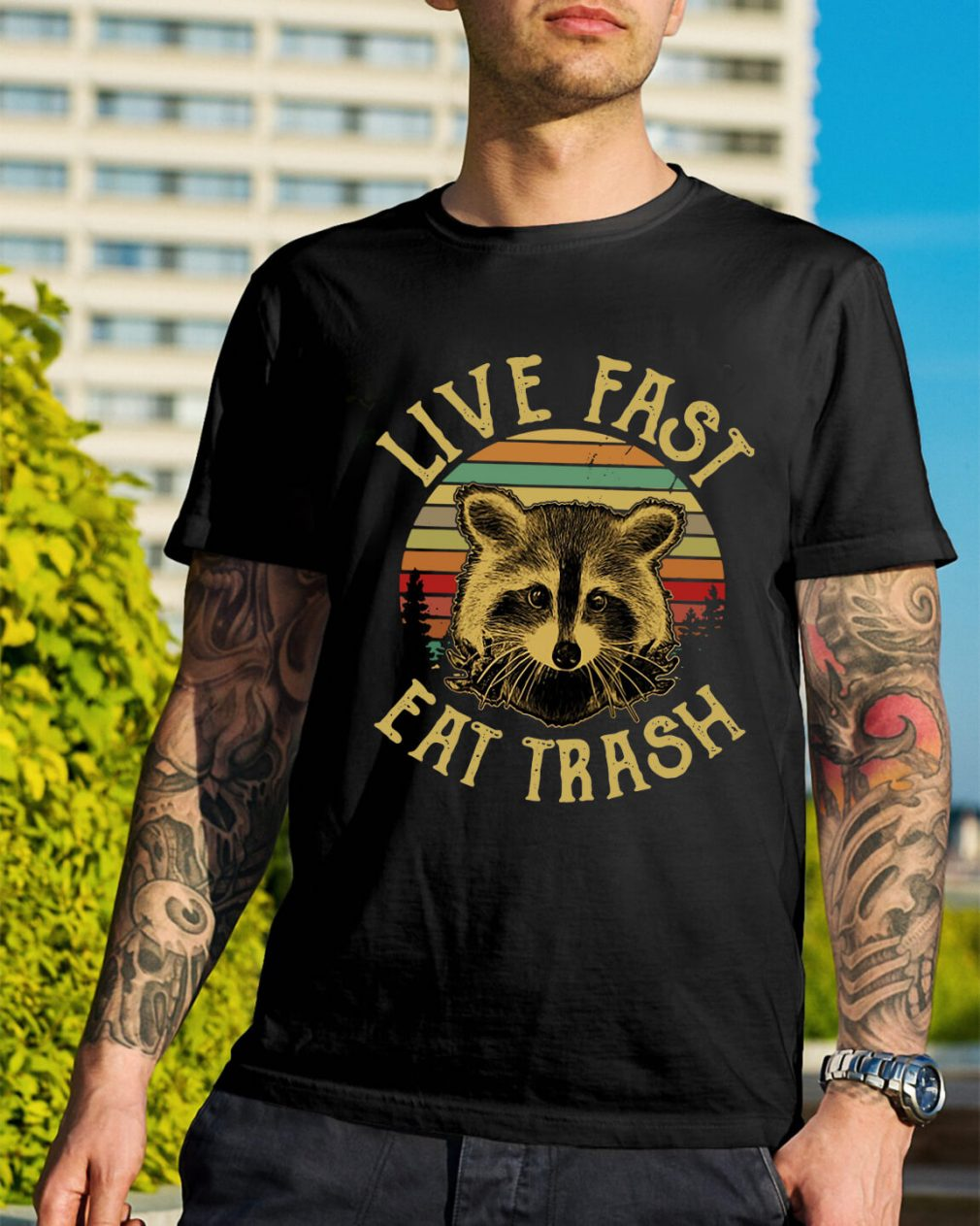 The sunset Raccoon live fast eat trash shirt