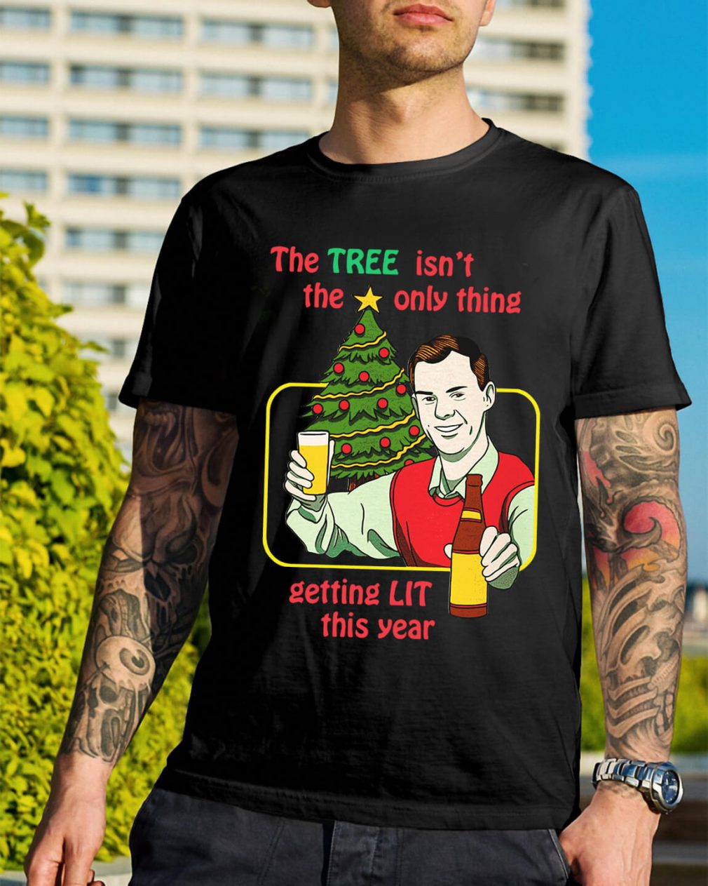 The tree isn't the only thing getting lit this year Christmas Guys Shirt