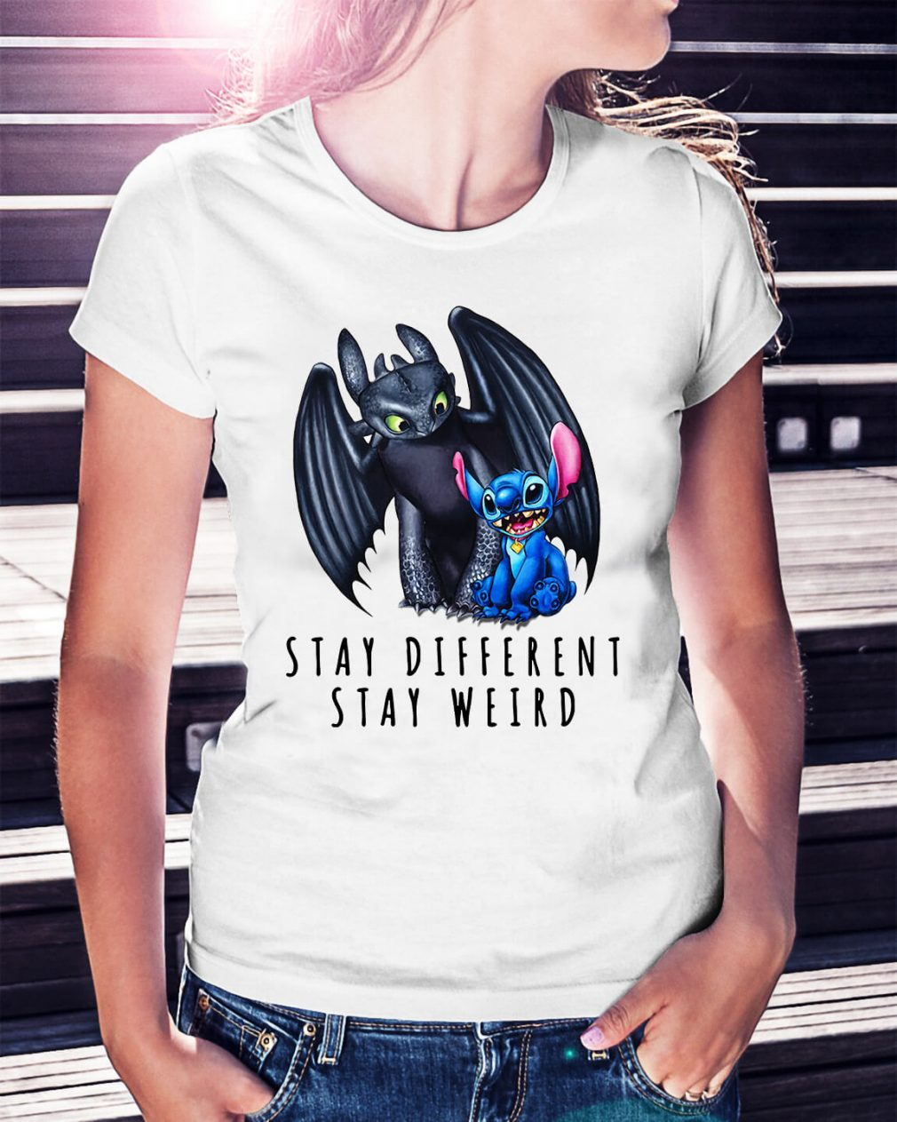 Toothless and Stitch stay different stay weird Ladies Tee