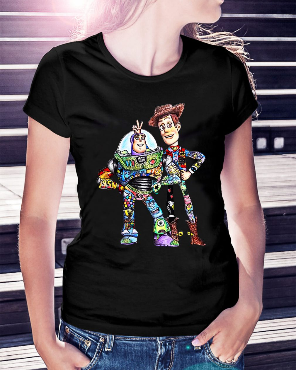Toy Story character Buzz Lightyear and Woody Ladies Tee