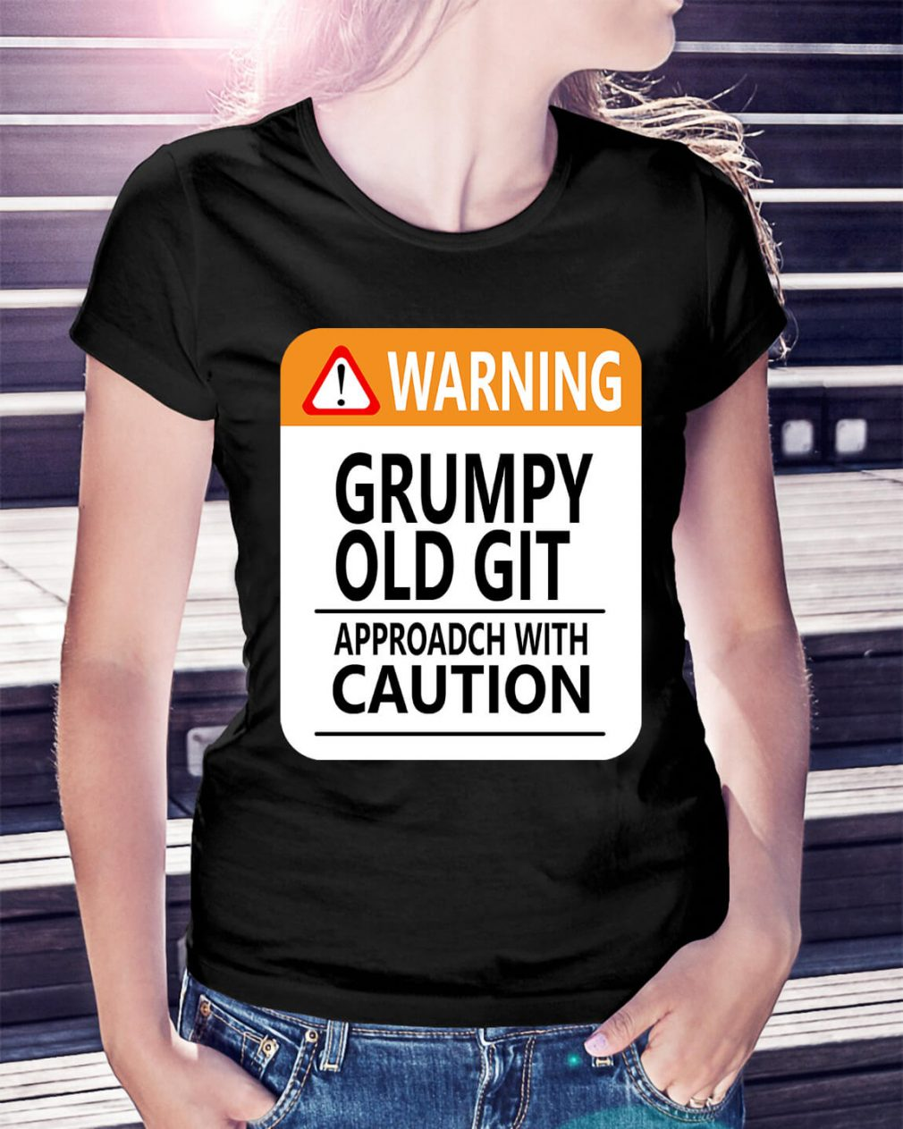 Warning Grumpy old git approach with caution Ladies Tee