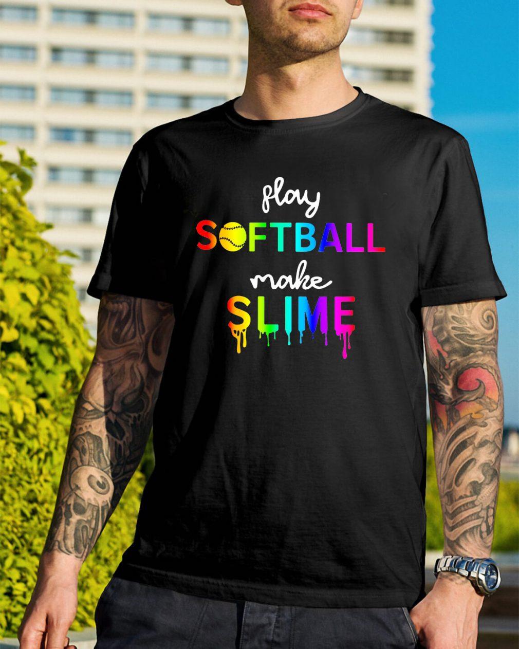 Watercolor play softball make slime shirt