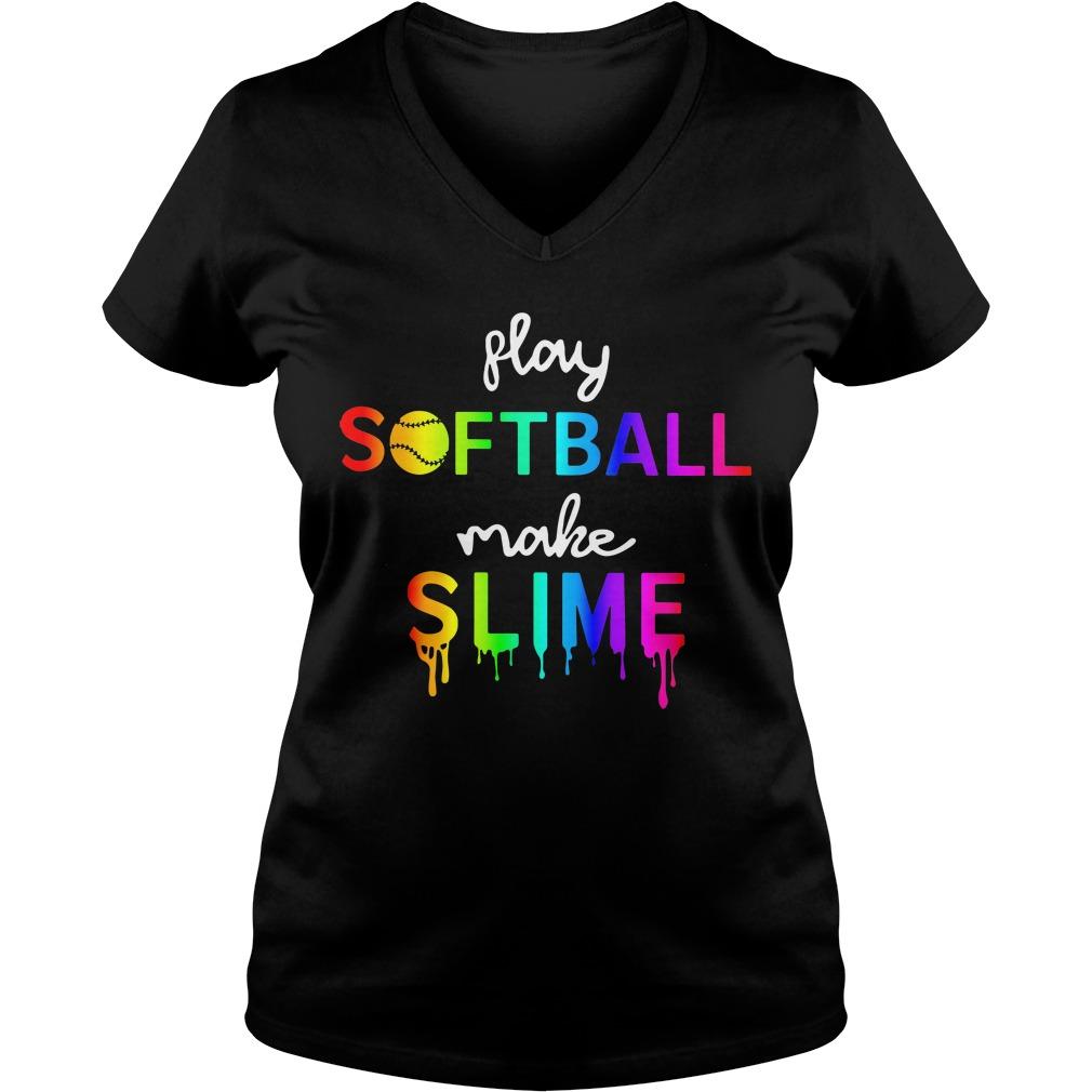 Watercolor play softball make slime V-neck T-shirt