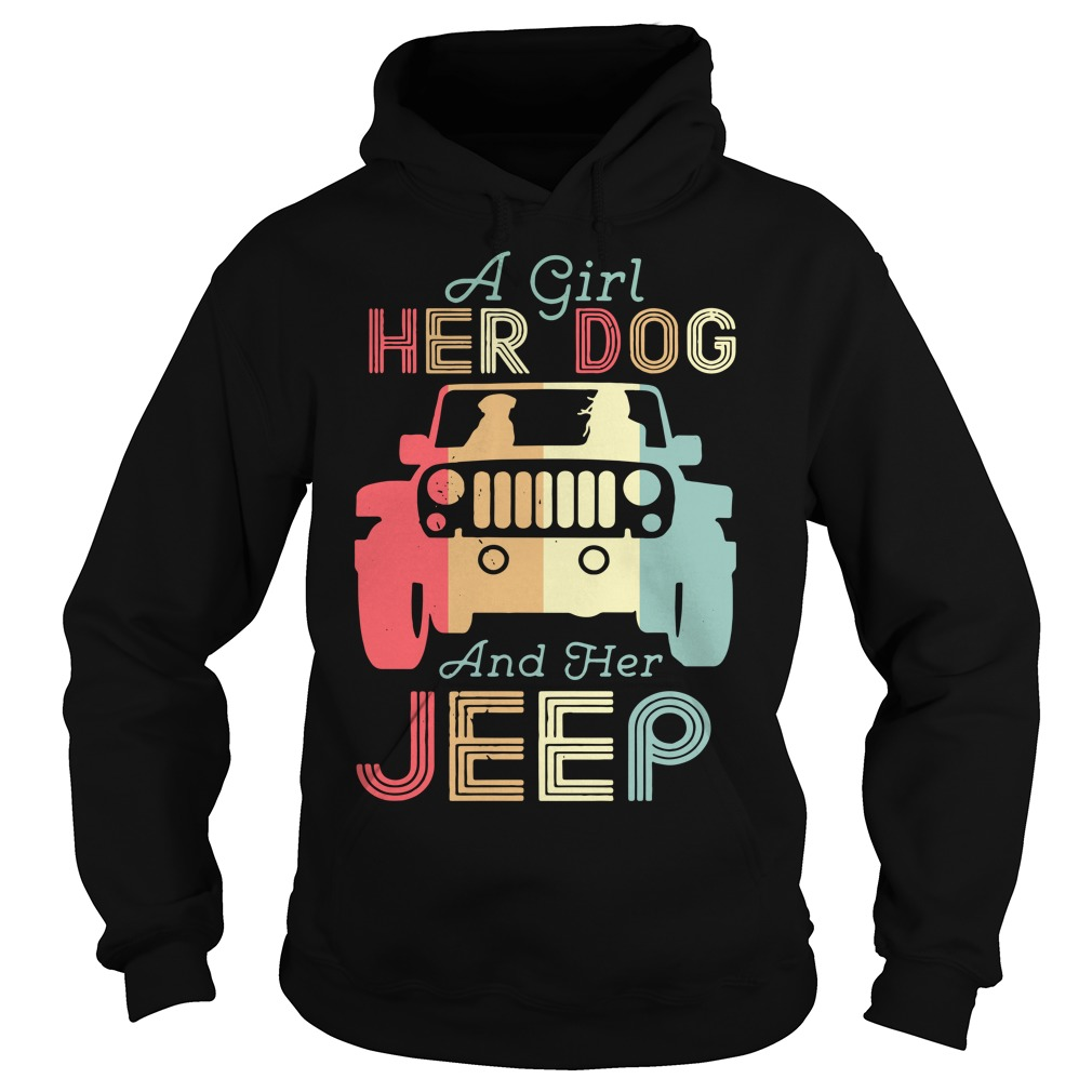 A girl her dog and her jeep vintage Hoodie