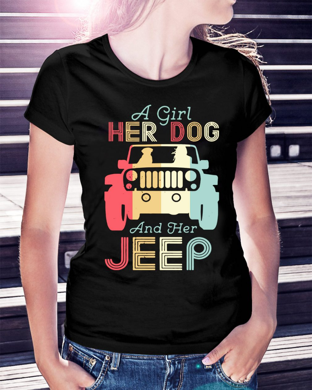 A girl her dog and her jeep vintage Ladies Tee