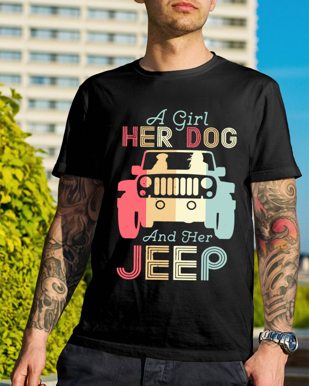 A girl her dog and her jeep vintage shirt