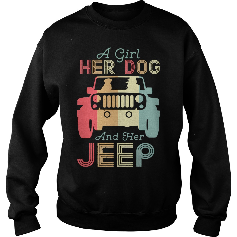 A girl her dog and her jeep vintage Sweater