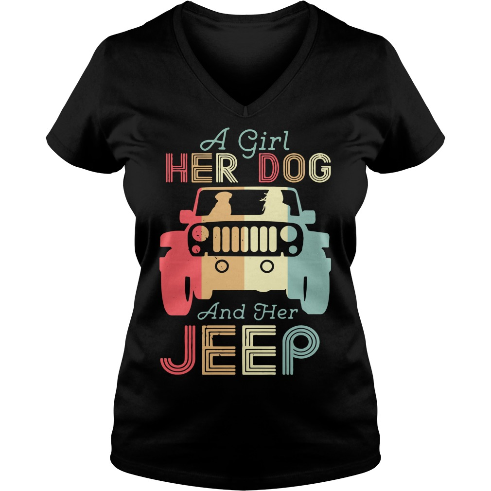 A girl her dog and her jeep vintage V-neck T-shirt