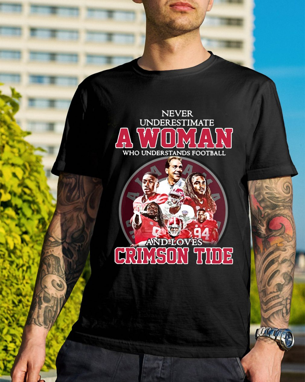 A woman who understands football and loves Crimson Tide shirt