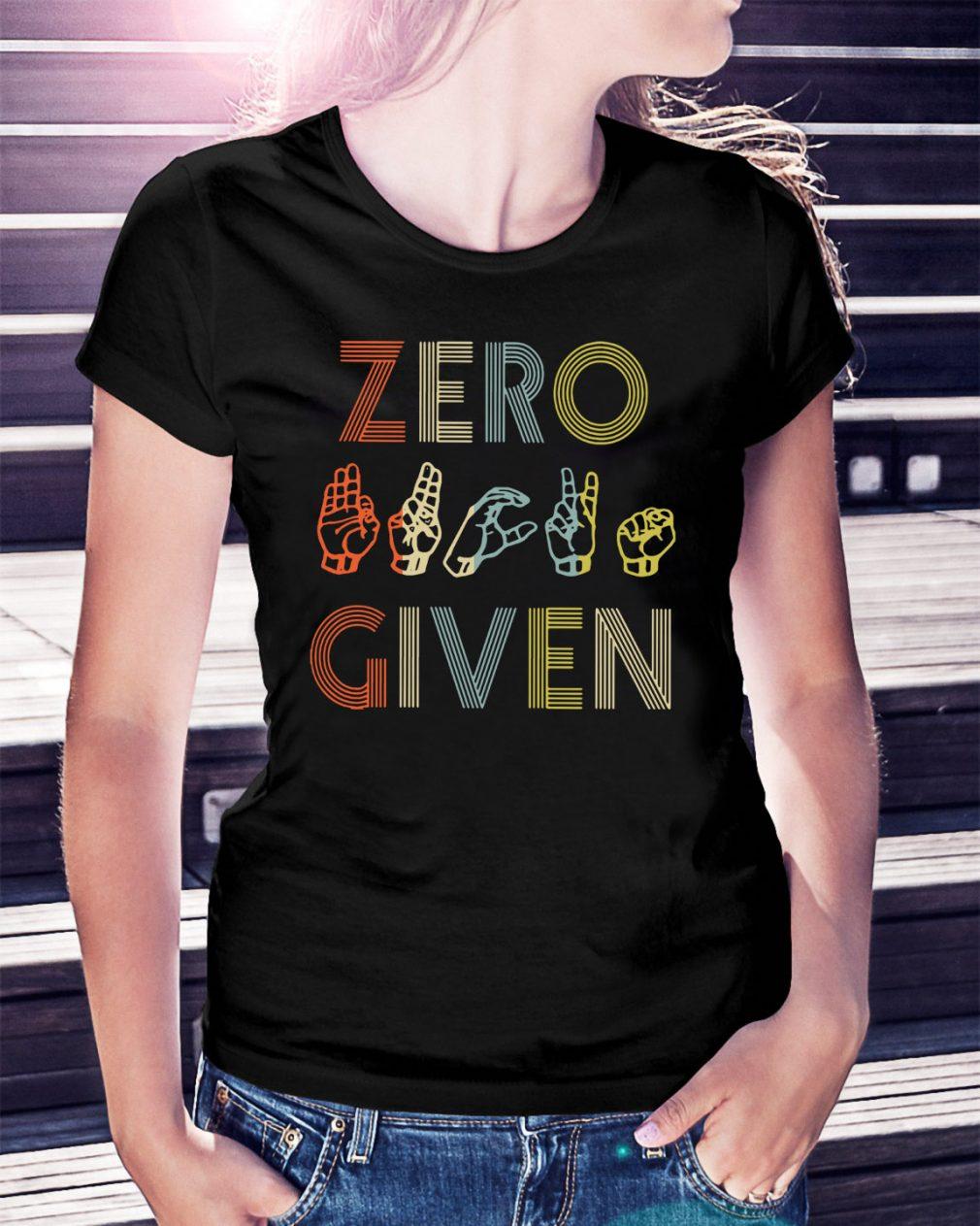 American sign language zero given Ladies Tee