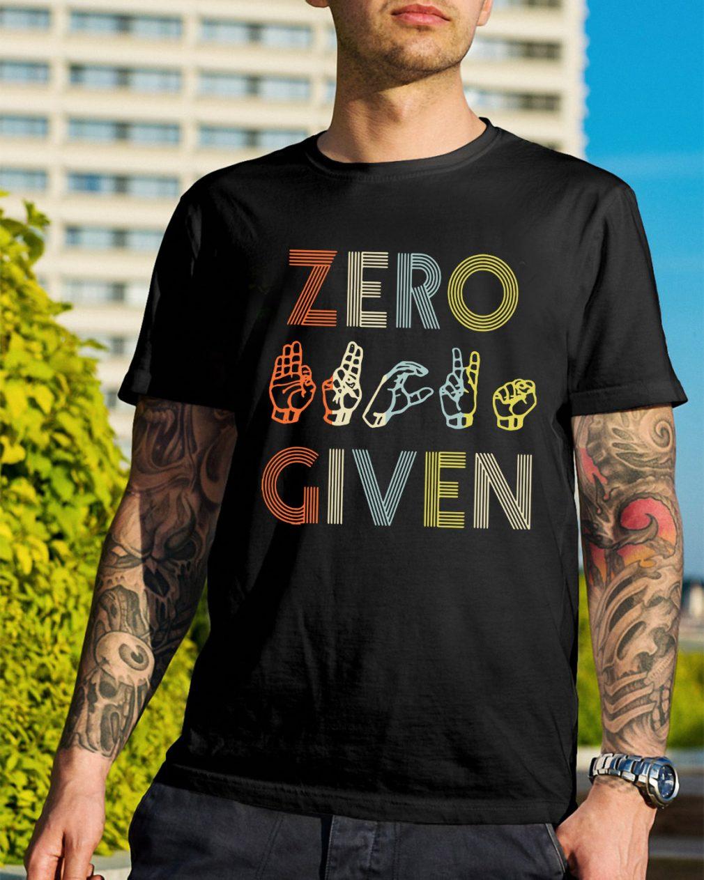 American sign language zero given shirt