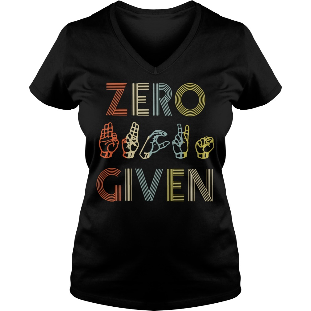 American sign language zero given V-neck T-shirt