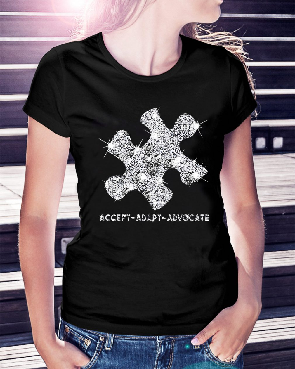 Autism Awareness accept adapt advocate Ladies Tee