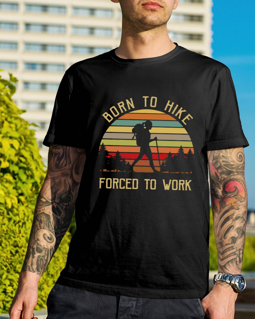 Born to hike forced to work sunset retro shirt