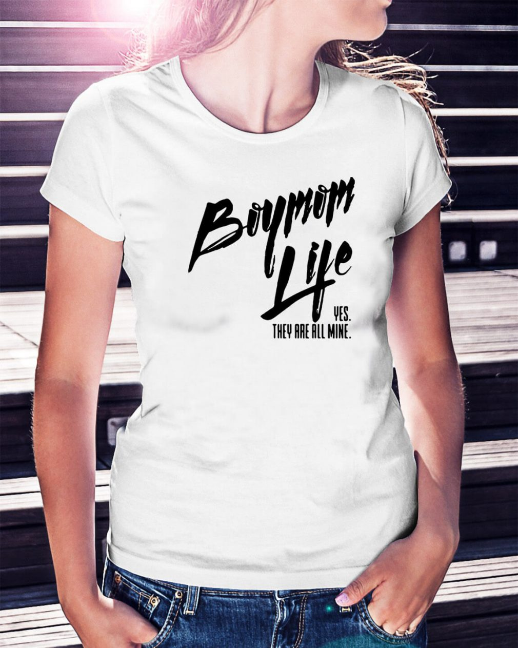 Boymom life yes they are all mine Ladies Tee